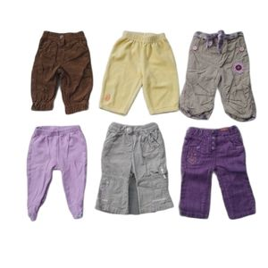 Lot of 6 Girl's Pants, Mixed Brands, 6m